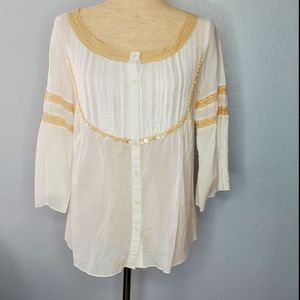 Free people size 6 white cotton top sheer …